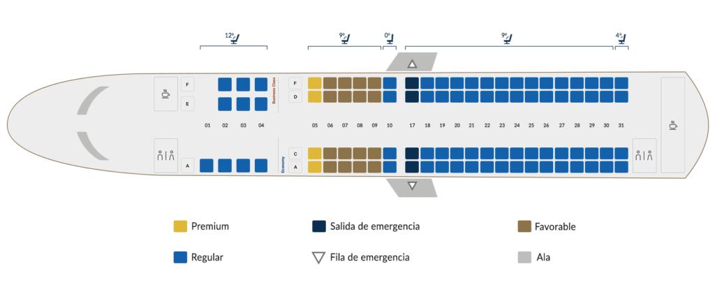 Disposición de asientos del Embraer 190