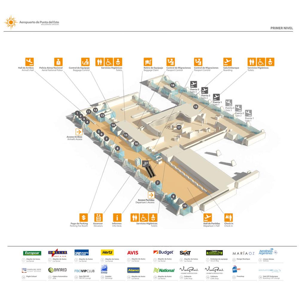 Plano del primer nivel del aeropuerto