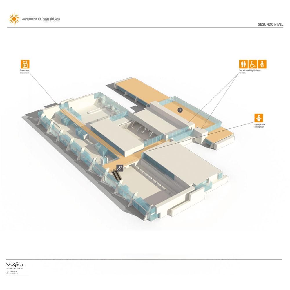 Plano del segundo nivel del aeropuerto